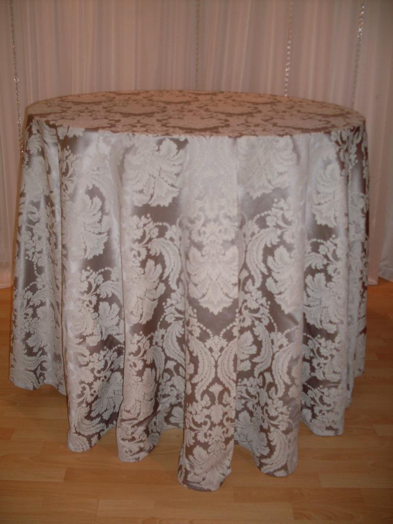 Chair Decor 187 Silver Brocade Tablecloth