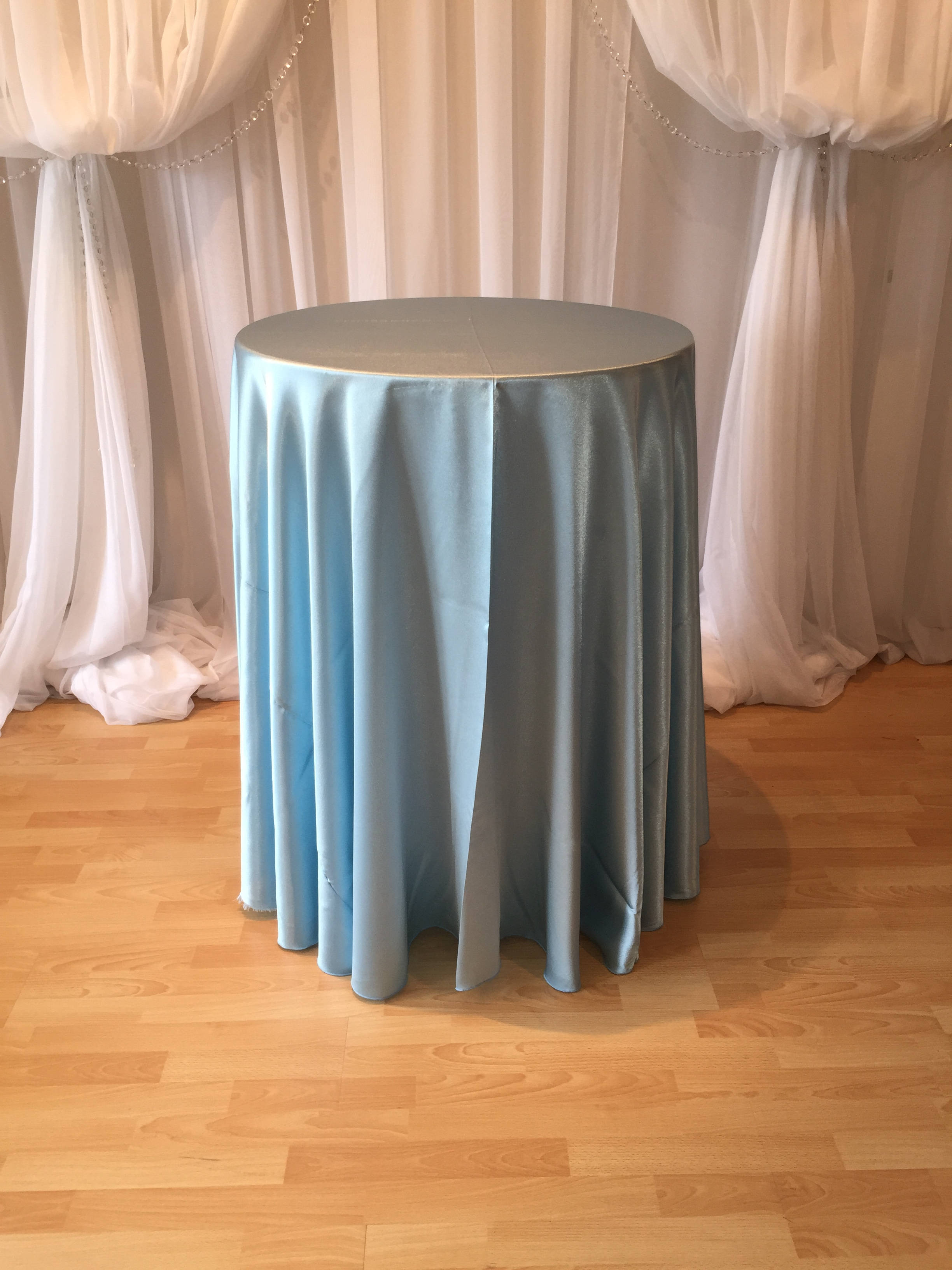 Chair Decor 187 Ice Blue Satin Tablecloth
