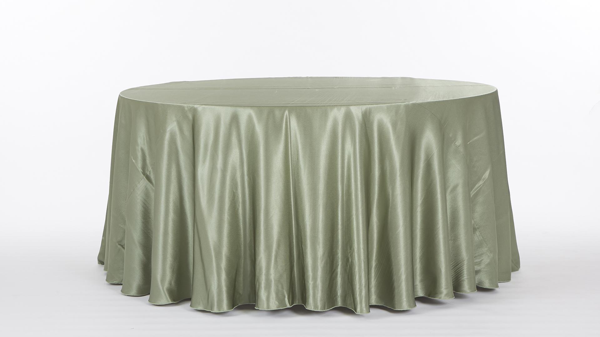 sage green satin tablecloth